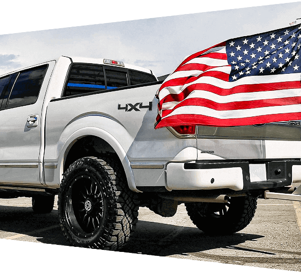 Anthem Off-Road Spring American Flag White Truck NQARP Banner